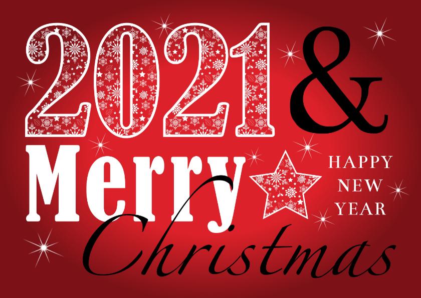 Nieuwjaarskaarten - Nieuwjaarskaart rechthoekig typografie rood 2020