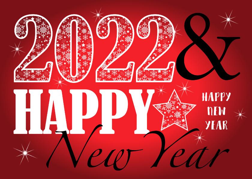 Nieuwjaarskaarten - Nieuwjaarskaart rechthoekig typografie rood