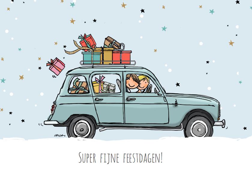 Nieuwjaarskaarten - Nieuwjaarskaart Renault vier blauw