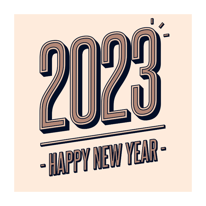 Nieuwjaarskaarten - Nieuwjaarskaart retro 2022 happy new year