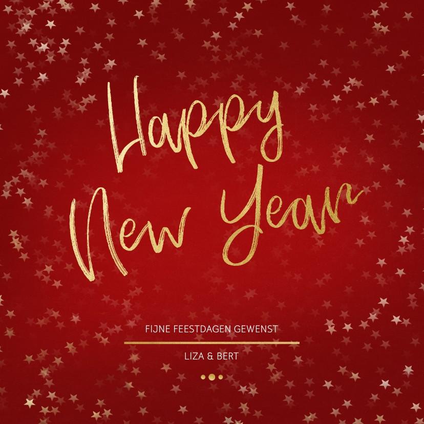 Nieuwjaarskaarten - Nieuwjaarskaart rood en goud