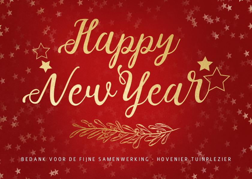 Nieuwjaarskaarten - Nieuwjaarskaart rood gouden sterren - een gouden kerst