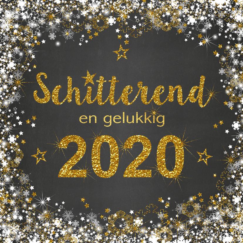 Nieuwjaarskaarten - Nieuwjaarskaart stijlvolle kaart met een schitterend 2020
