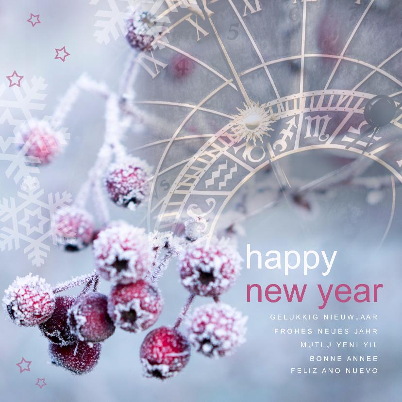Nieuwjaarskaarten - Nieuwjaarskaart sneeuwbessen en klok