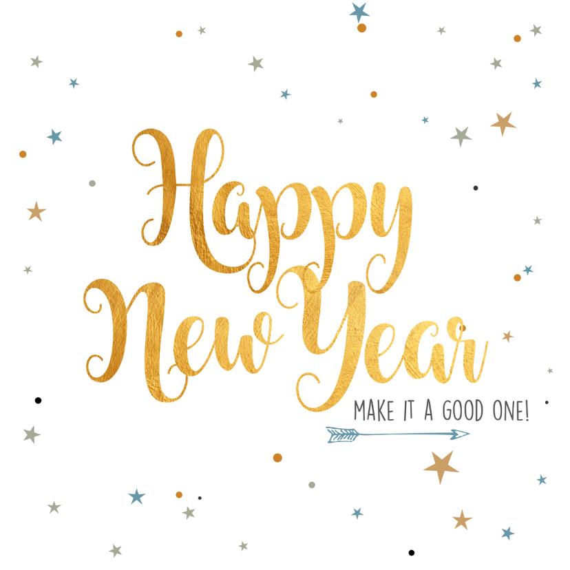 Nieuwjaarskaarten - Nieuwjaarskaart sparkling gold
