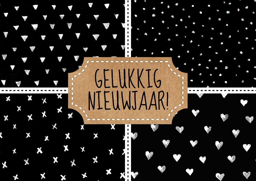 Nieuwjaarskaarten - Nieuwjaarskaart stempel patronen zwart-wit waterverf