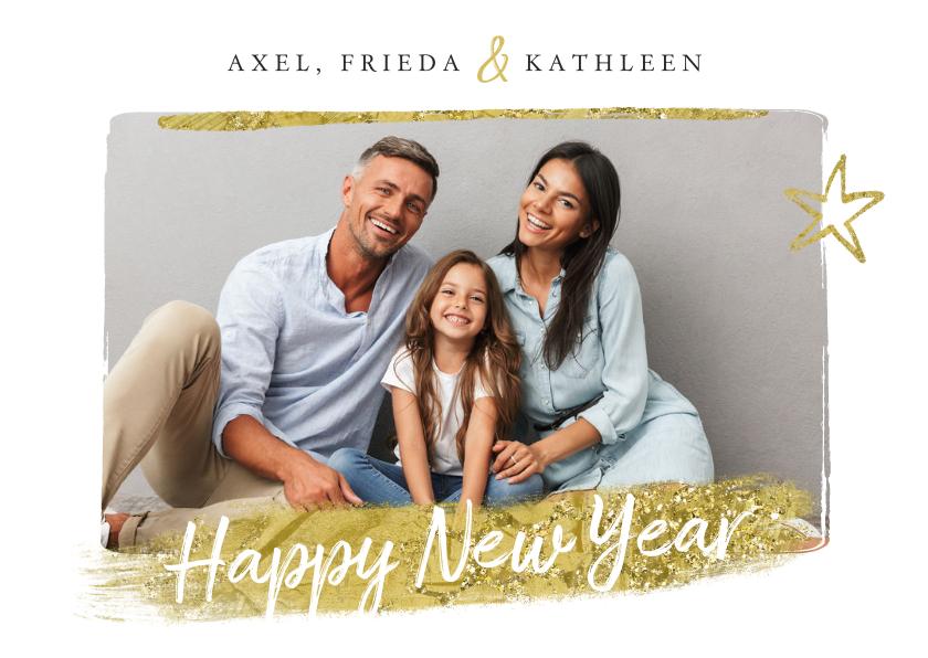 Nieuwjaarskaarten - Nieuwjaarskaart ster goud foto happy new year
