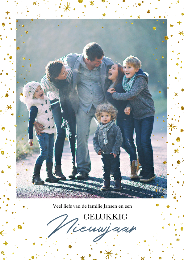 Nieuwjaarskaarten - Nieuwjaarskaart Sterren foto familie