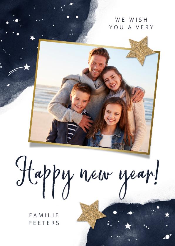 Nieuwjaarskaarten - Nieuwjaarskaart sterren fotocollage goud waterverf