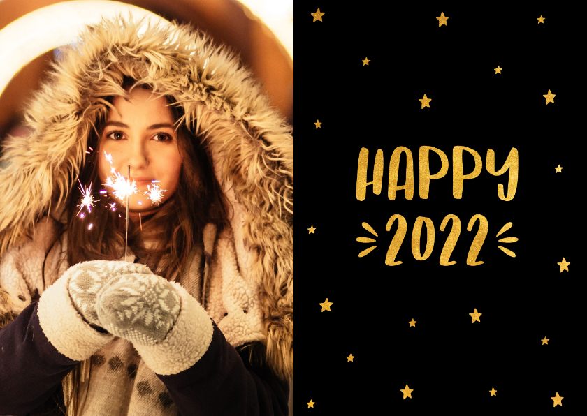 Nieuwjaarskaarten - Nieuwjaarskaart sterren 'Happy 2022' goudlook