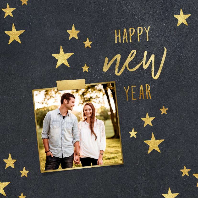 Nieuwjaarskaarten - Nieuwjaarskaart sterren krijtbord foto met tape