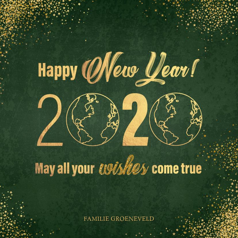 Nieuwjaarskaarten - Nieuwjaarskaart stijlvol donkergroen en goud wereldbol 2020