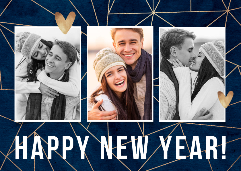 Nieuwjaarskaarten - Nieuwjaarskaart stijlvol geometrisch goud foto