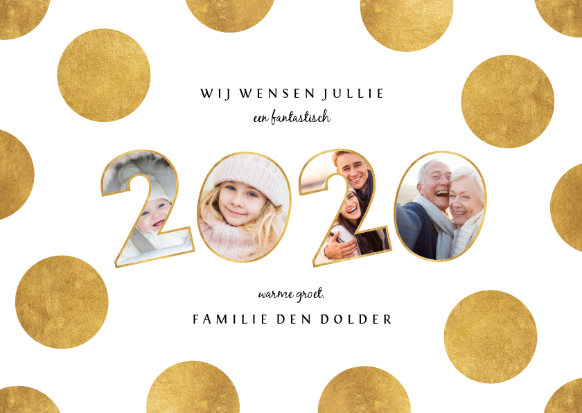 Nieuwjaarskaarten - Nieuwjaarskaart stippen met speelse 2020 fotocollage