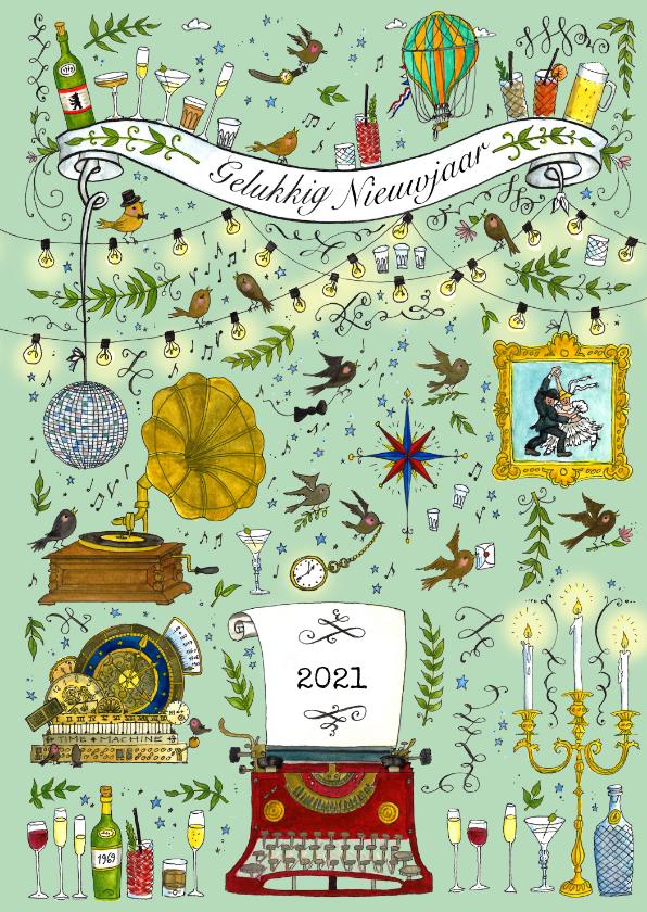Nieuwjaarskaarten - Nieuwjaarskaart Swing het nieuwe jaar in