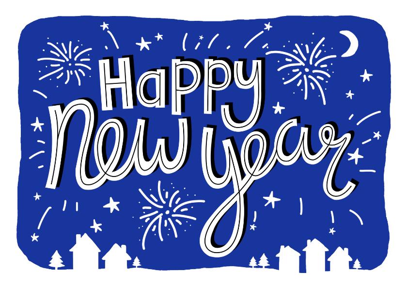 Nieuwjaarskaarten - Nieuwjaarskaart tekst vuurwerk blauw