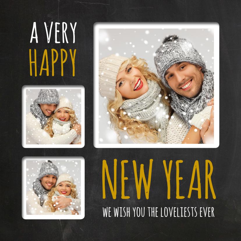 Nieuwjaarskaarten - Nieuwjaarskaart trendy krijt fotocollage