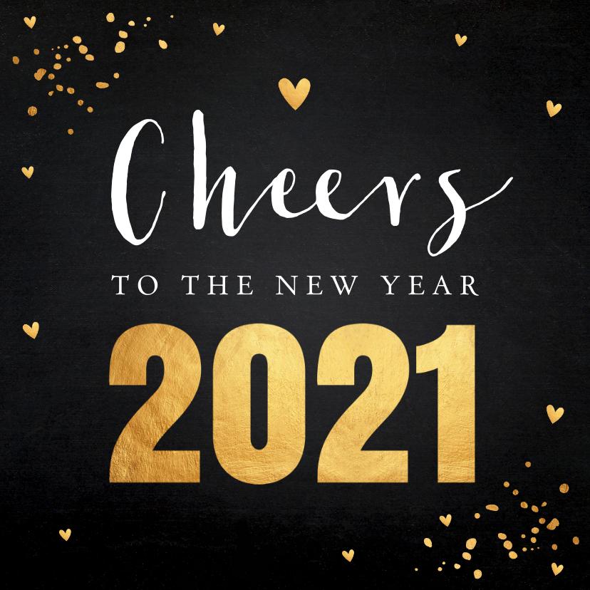 Nieuwjaarskaarten - Nieuwjaarskaart typografie goud confetti