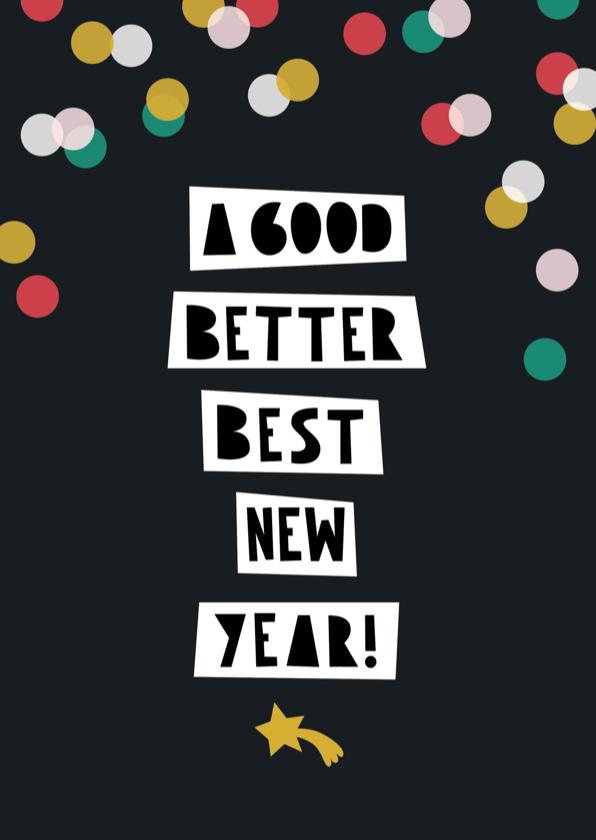 Nieuwjaarskaarten - Nieuwjaarskaart typografie internationaal confetti
