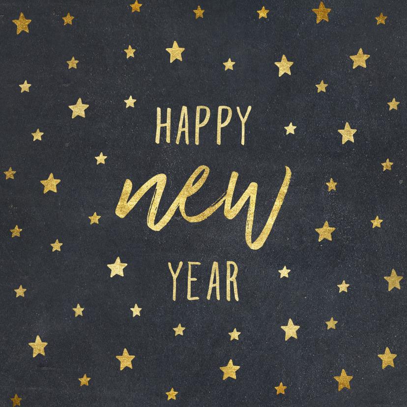 Nieuwjaarskaarten - Nieuwjaarskaart typografie met sterren goud