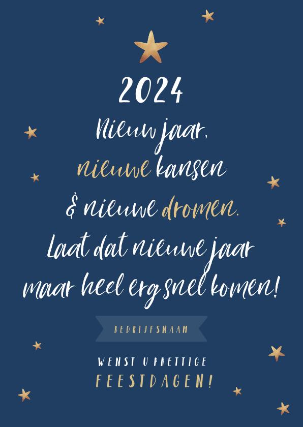 Nieuwjaarskaarten - Nieuwjaarskaart typografisch kerstboom sterren