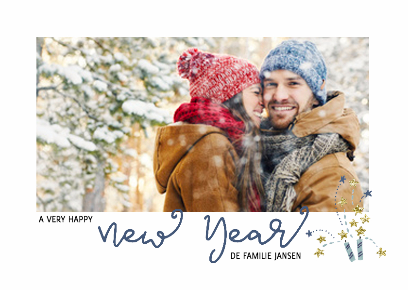 Nieuwjaarskaarten - Nieuwjaarskaart vuurwerk met foto