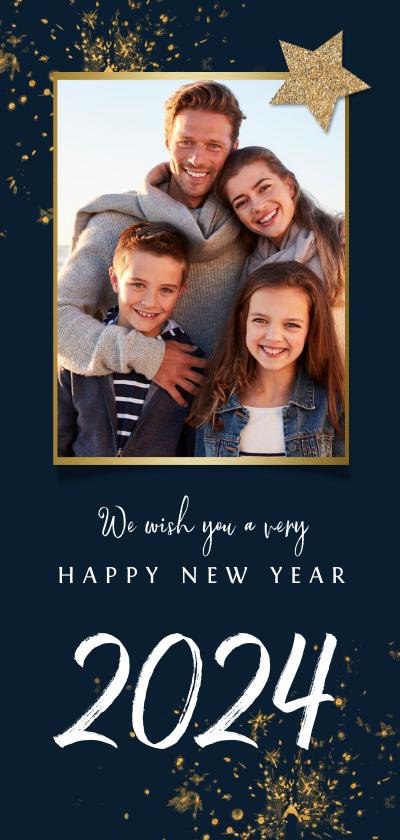 Nieuwjaarskaarten - Nieuwjaarskaart vuurwerk ster foto goud