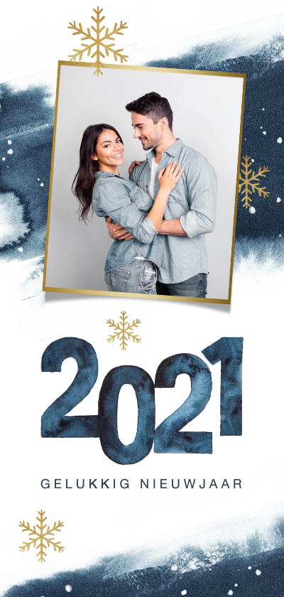 Nieuwjaarskaarten - Nieuwjaarskaart waterverf sterren sneeuwvlokken 2020 foto