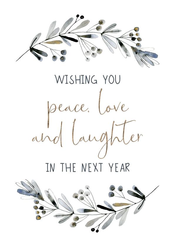 Nieuwjaarskaarten - Nieuwjaarskaart waterverf Wishes