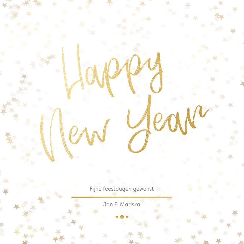 Nieuwjaarskaarten - Nieuwjaarskaart wit en goud