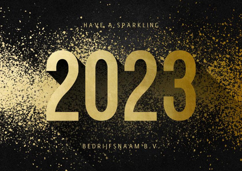 Nieuwjaarskaarten - Nieuwjaarskaart zakelijk 2022 goudlook met spetters