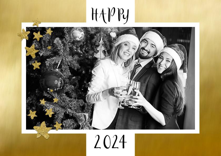 Nieuwjaarskaarten - Nieuwjaarskaart zakelijk foto op goud
