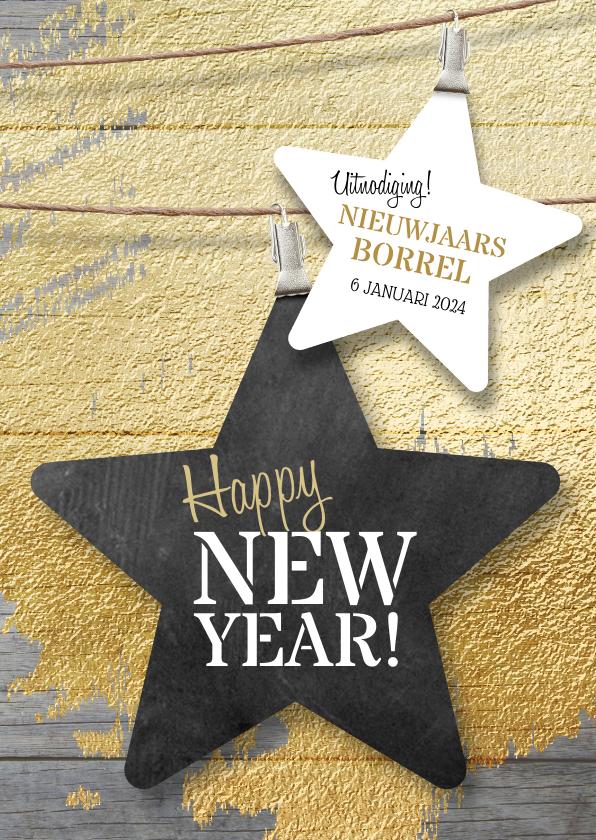 Nieuwjaarskaarten - Nieuwjaarskaart zakelijk ster borrel