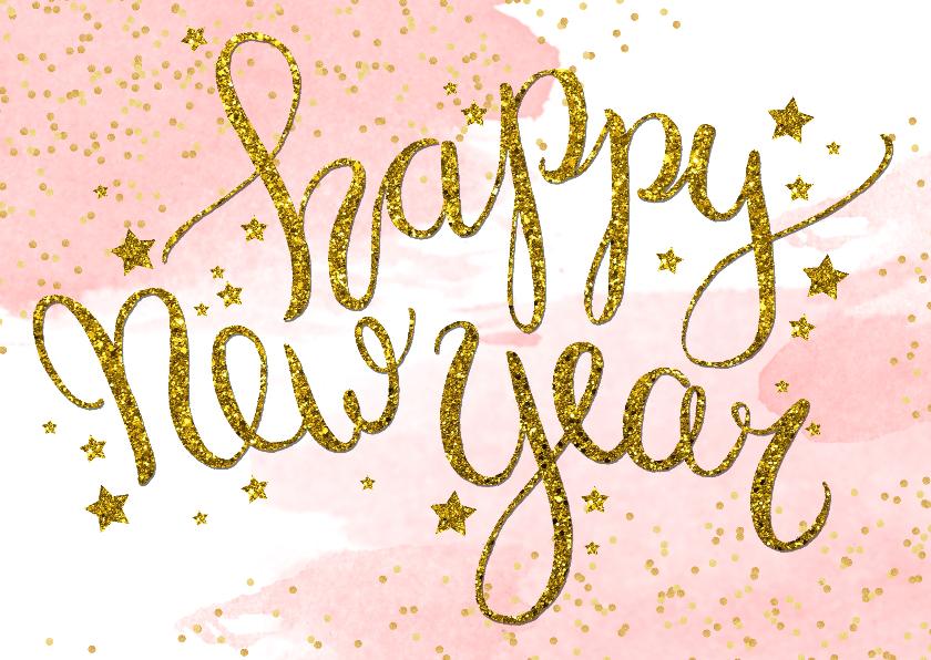 Nieuwjaarskaarten - Nieuwjaarskaart zakelijk tekst aquarel glitter