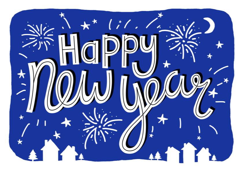 Nieuwjaarskaarten - Nieuwjaarskaart zakelijk tekst vuurwerk
