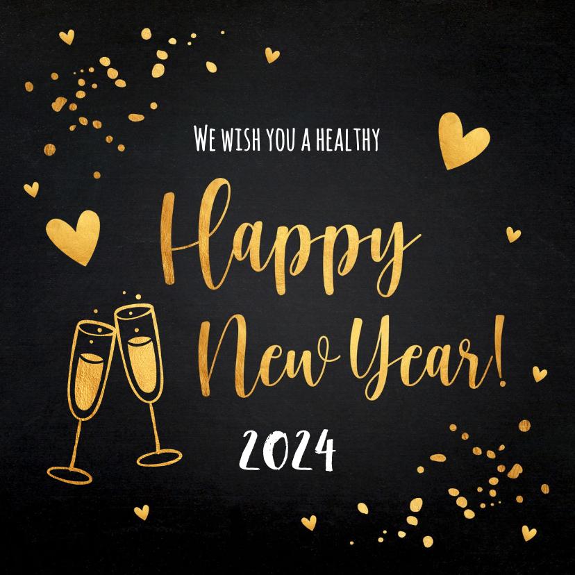 Nieuwjaarskaarten - Nieuwjaarskaart zwart goudlook champagne hartjes