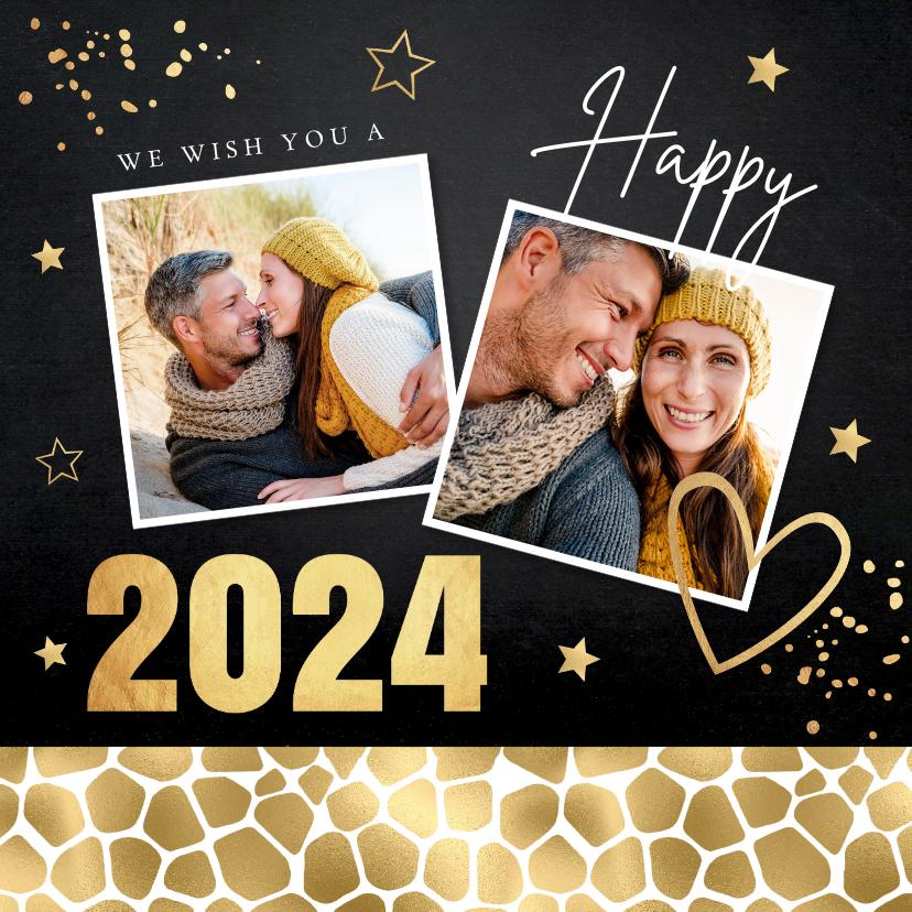 Nieuwjaarskaarten - Nieuwjaarskaart zwart goudlook panterprint foto
