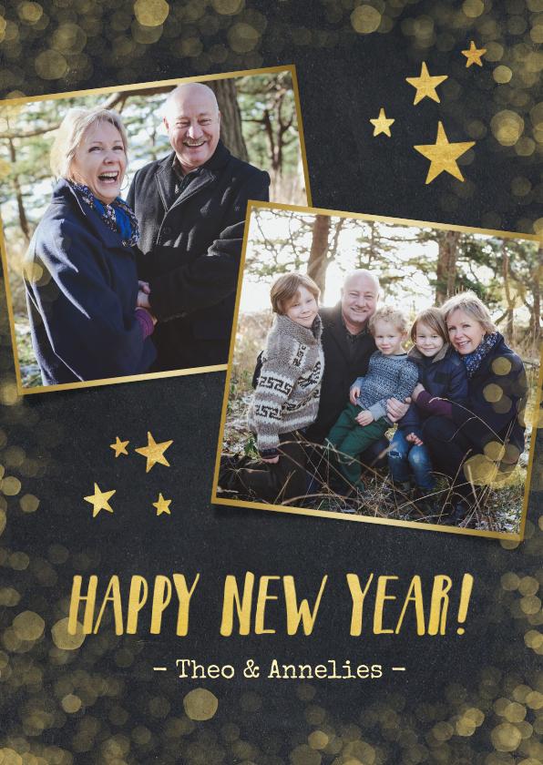 Nieuwjaarskaarten - Nieuwjaarskaart zwart met goud en 2 eigen foto's