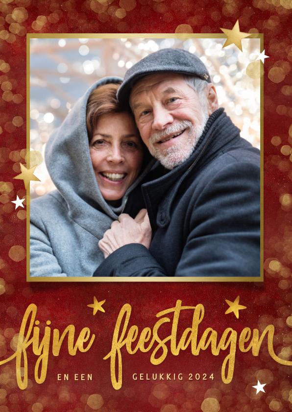Nieuwjaarskaarten - Rode nieuwjaarskaart fijne feestdagen met eigen foto