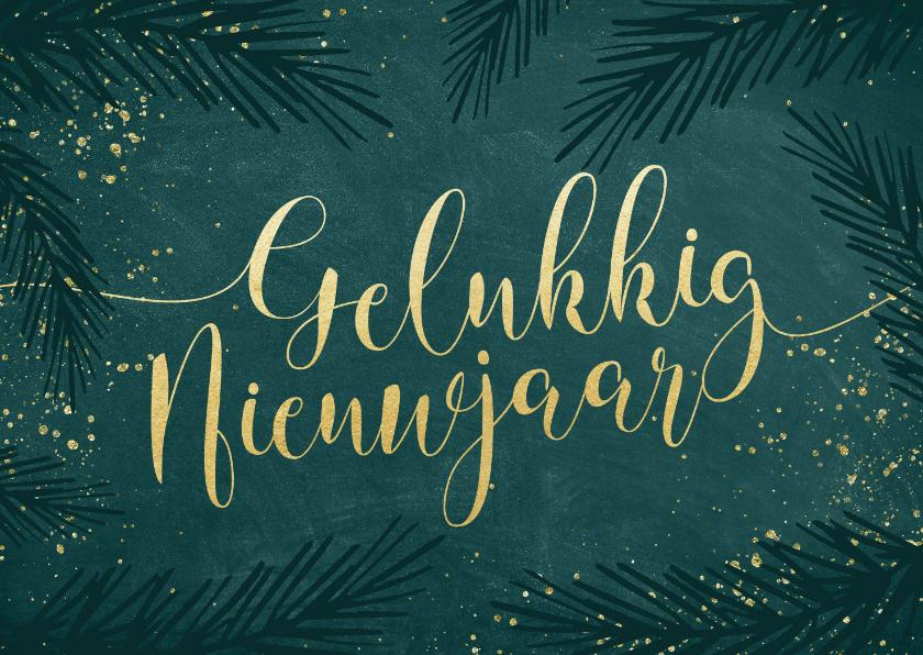 Nieuwjaarskaarten - Sierlijke nieuwjaarskaart goudlook kalligrafie