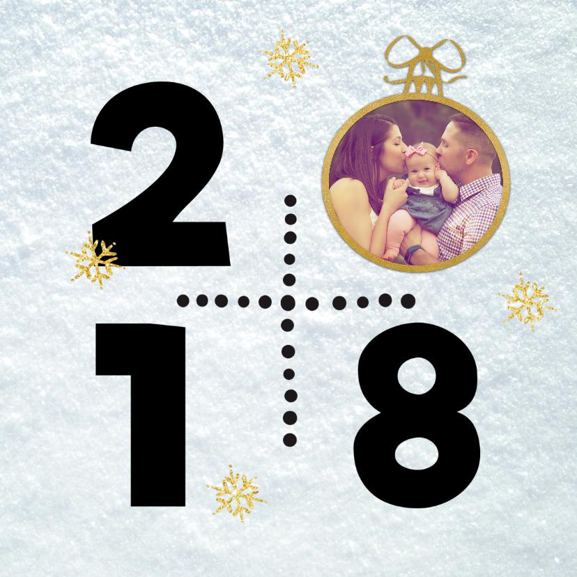 Nieuwjaarskaarten - Sneeuw 2018 kerstbal