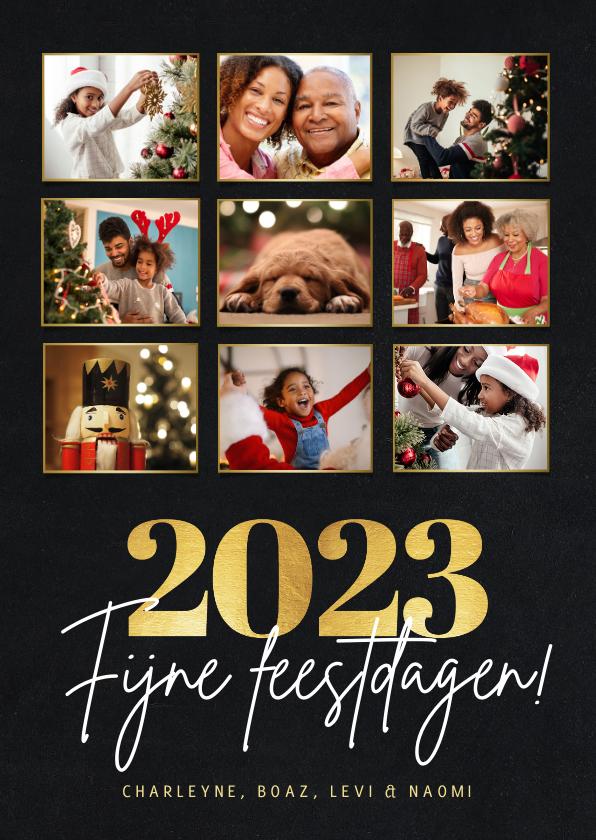 Nieuwjaarskaarten - Stijlvolle kerst nieuwjaarskaart met fotocollage - 9 foto's