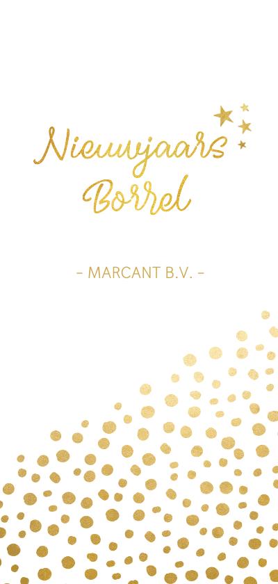 Nieuwjaarskaarten - Stijlvolle langwerpige nieuwjaarsborrel uitnodiging met goud