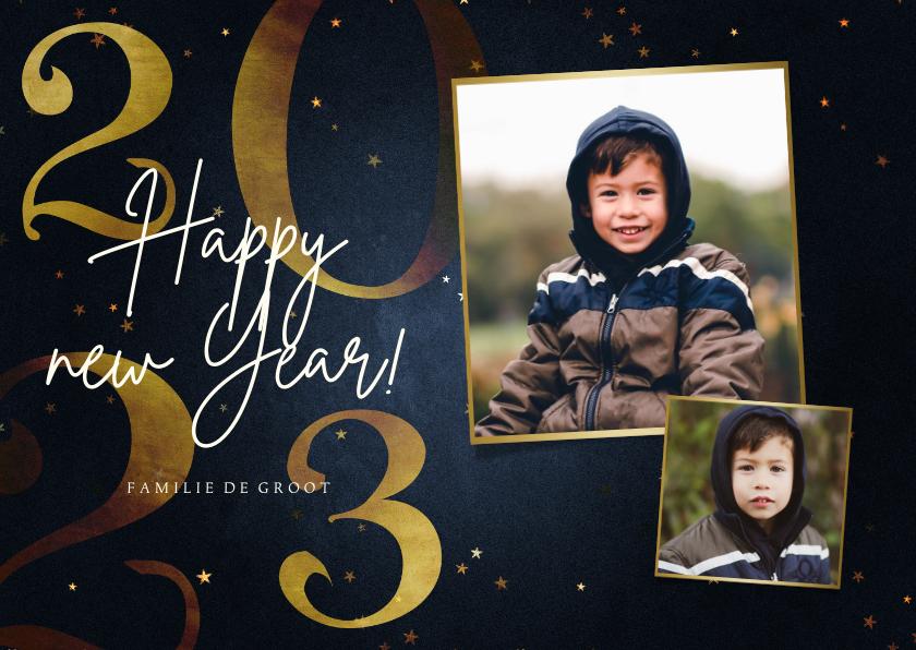 Nieuwjaarskaarten - Stijlvolle nieuwjaarskaart 2022 goud 2 fotos happy new year