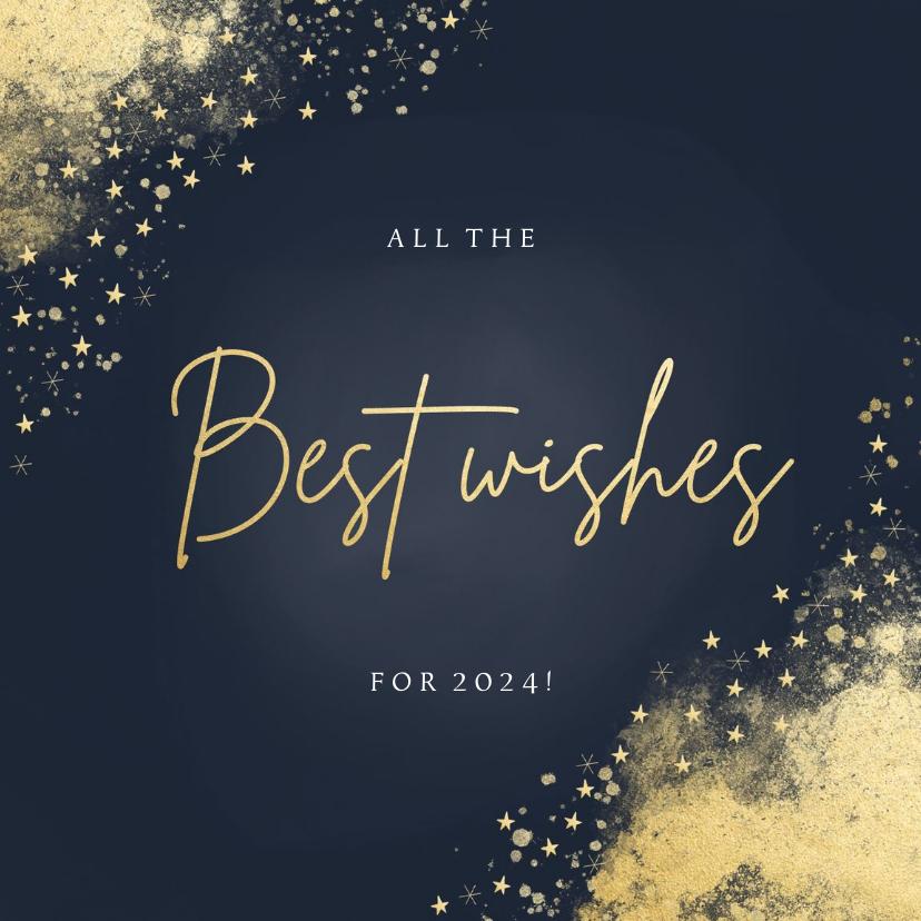 Nieuwjaarskaarten - Stijlvolle nieuwjaarskaart best wishes donkerblauw goudlook