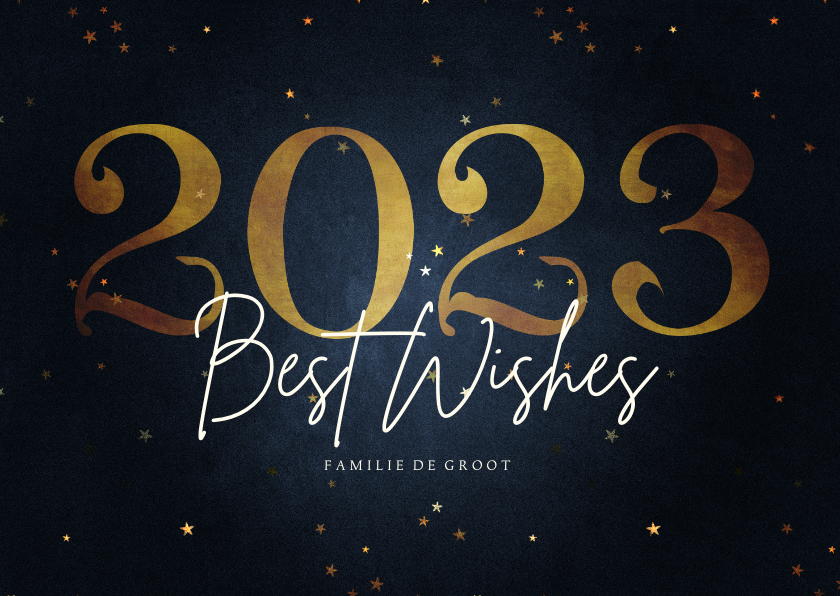 Nieuwjaarskaarten - Stijlvolle nieuwjaarskaart best wishes gouden 2022