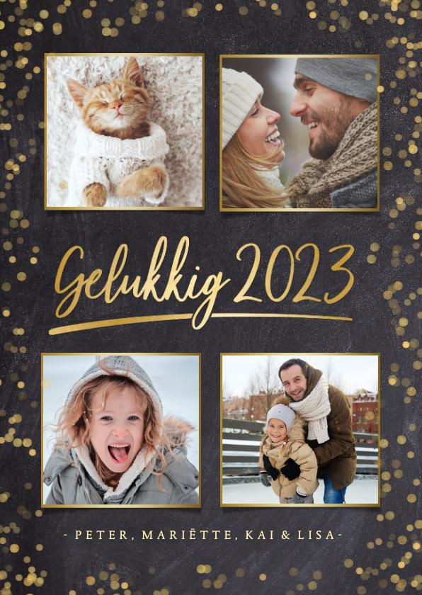 Nieuwjaarskaarten - Stijlvolle nieuwjaarskaart fotocollage met 4 foto's en goud