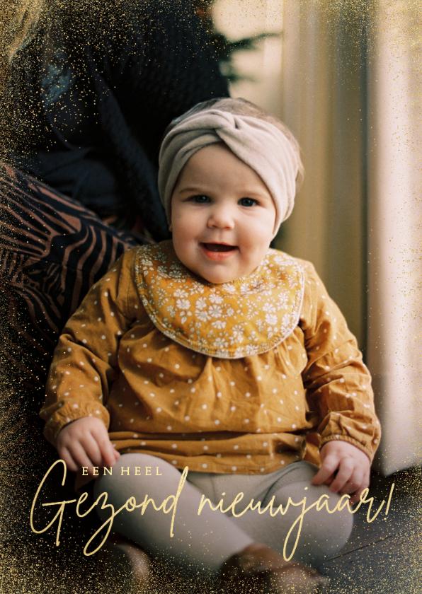 Nieuwjaarskaarten - Stijlvolle nieuwjaarskaart goud grote foto gezond nieuwjaar