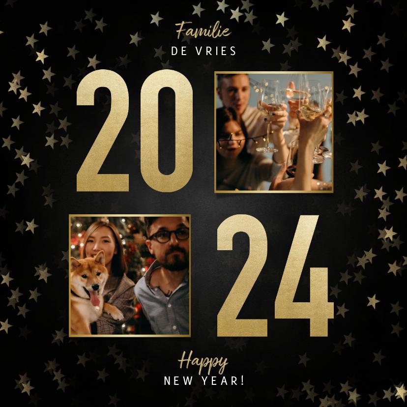 Nieuwjaarskaarten - Stijlvolle nieuwjaarskaart gouden 2022, sterren en foto's
