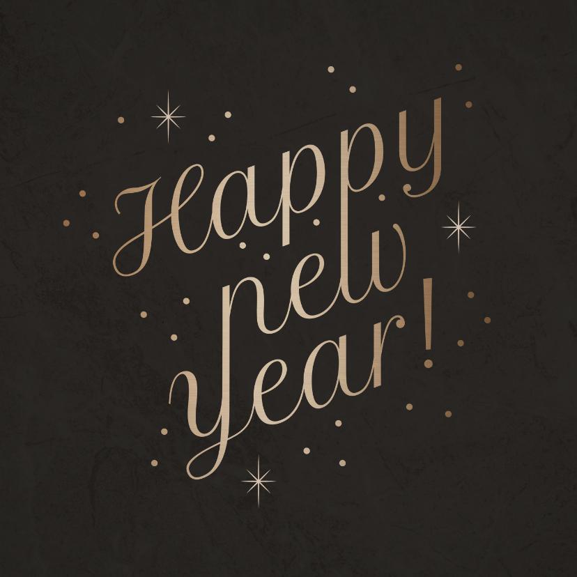Nieuwjaarskaarten - Stijlvolle nieuwjaarskaart 'Happy New Year' fonkels
